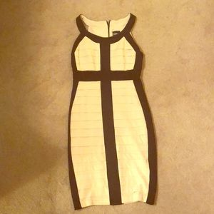 Cream and black detailed dress